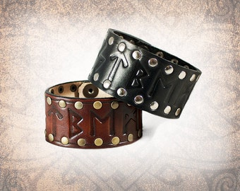 Runes - Leather Cuff, Leather Wristband, Leather Bracelet, Brown Leather Cuff, Leather Band, Celtic Cuff - Custom to You (1 cuff only)