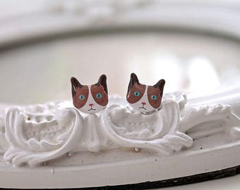 Brown tuxedo Kitty cats  Earrings cute kawaii