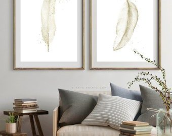 FEATHERS WALL ART Set of 2 Prints, Watercolor Painting, Beige Sepia Rustic Wall Art, Housewarming Decor, Large Living Room Bedroom Wall Art