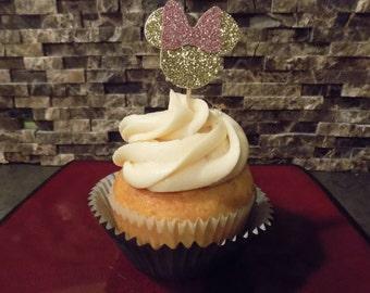 Glitter Minnie Cupcake toppers