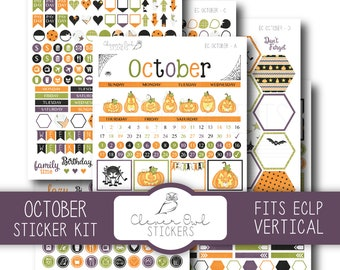 October Planner Stickers, Sticker Kit, Planner Stickers, EC Vertical Planner Stickers, Monthly Sticker Set