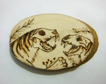Wooden Pyrography, Tiger skulls original hand made art
