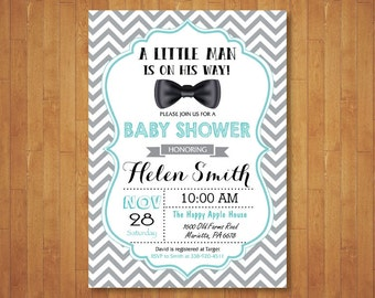 Bow Tie Baby Shower Invitation. Bowtie Invitation. Boy Baby Shower Invitation. Aqua Red Blue Green Chevron. Printable Digital.