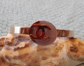 Capiz Shell Chanel hinged-cuff bracelet, rose gold color