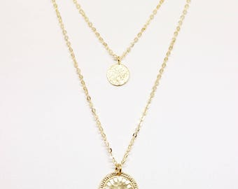 Double Coin Necklace Beautiful butterfly,18k Gold Plated mom gift, gift for mother, birthday gift, holiday gift,  mom birthday, gift for mom