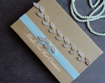 Leaf Rhinestone Garter Set, Crystal garter set, wedding garter set, bridal garter belt, wedding garter belt, something blue garter set