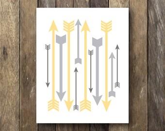 Arrow Printable - Yellow and Gray Nursery Art - Instant Download - Arrow Print - Yellow Gray