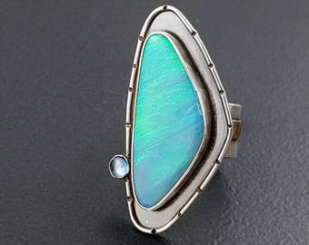 Opal and Topaz Ring, size 8, mixed metal ring, sterling silver ring, mixed metal, opal ring, blue silver gold, michele grady, statement ring