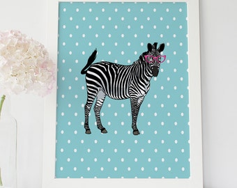 Zebra with glasses, Nursery Wall Art, Zebra Print, Zebra Printable, Nursery Wall Decor, Zebra Nursery Print, Funny Zebra, Kids Room Decor