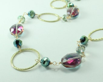 Green/Pink Crystal Necklace