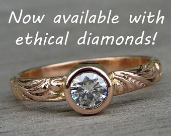Diamond & Rose Gold Ring - Recycled Gold Wedding / Engagement Ring - Patterned Band, Lab Created Dimaond, Made in the USA, Made To Order