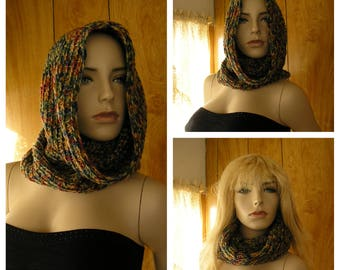 "Crochet hooded cowl, cowl, infinity scarf, hood, pixie hood, hand crochet in blended shades, it is 24"" around and 18"" long"