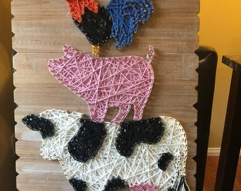 Rooster, pig, cow String art