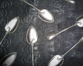 Cafe Au Lait Fabric Black Spoons