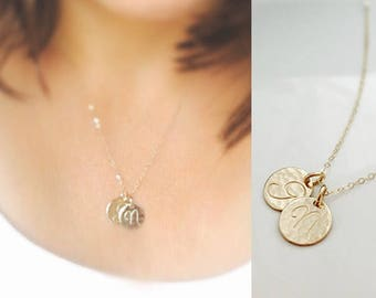 Mom Gift - Gold Initial Necklace - 14 kt Solid Gold - Initial Jewelry - Personalized Gift for Mother - Gift for her - Dainty Hammered Disc