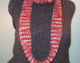 Maroon and Gray Infinity Scarf, Knit Infinity Scarf, Womans Knit Infinity Scarf, Knit Loop Scarf, Neckwarmer, Circle Scarf - Ready to Ship