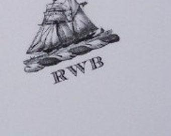 Sailing Ship Yacht Notepad Personalized Monogrammed Note Pad Boat Ocean Nautical Captain 75 Sheet Monogram Beach Sail Vintage Inspired Waves