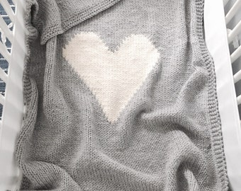 Large Grey Blanket with Cream Heart