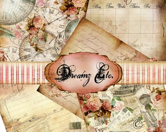 """12 x 12 Digital Papers """"Vintage Love Story"""" - Paper Pack 2, Great for Scrapbooking, Journals, Card Making and Mixed Media Projects"""