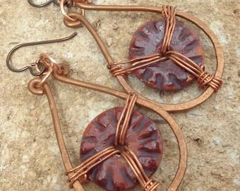 Copper Wire Ceramic Disk Earrings