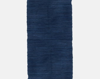 Fab! Hand Made Loom Dark Blue colour COTTON Rag Rug Recycled Boho Hippy Scandi Shabby Chic Traditional Upcycled Rustic 60 x 240cm FUN!