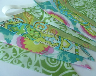 Floral green, blue and pink bunting/banner - AMY BUTLER FABRICS - stylish wall decoration