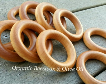 2.5 Inch CPSIA USA Grown & Made - Beeswax / Olive Oil Wooden Maple Teething Rings - Set of 5, 10, 20, 50 or 100 - Bulk Wholesale Pricing