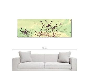 Bird Canvas - Home Decor - Vintage Style - Modern Canvas - Large Canvas - Mint Green Sky- 20 x 60 Canvas - Pastel Wall Art - Flock of Birds