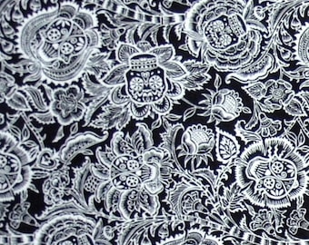 ON SALE 80% OFF Skull Fabric - Day of the Dead - Fabric - Sugar Skull - Floral - Black - White - Skulls - Cotton Fabric - Flowers - Minimali