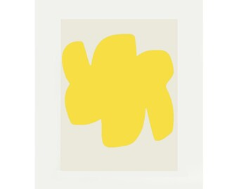 yellow abstract screenprint, bold geometric original print by Emma Lawrenson