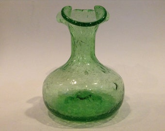 Vintage Green Hand Blown Seeded Bubble Glass Vase or Pouring Vessel, Scalloped Ruffled Rim Opening, Bottom Pontil Mark, Glass Décor (Used)