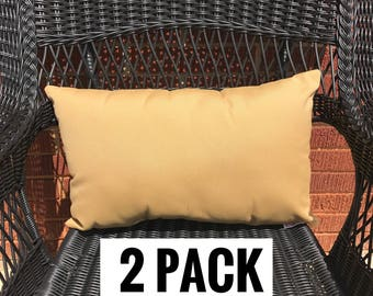 2 Pack of Sunbrella Canvas Wheat Lumbar Pillow Water Resistant