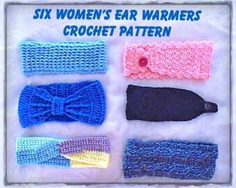 Six Women's Ear Warmers Crochet Pattern - INSTANT DOWNLOAD