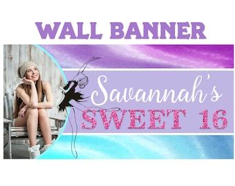 Ballerina Splash Birthday Banner  ~ Sweet 16 Watercolor Birthday Personalized Party Banners - Large Photo Birthday Banner, Custom Banner