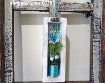 UP-CYCLED - old made new treasure - French beaded flower shadowbox - decor - spring - summer - NO390
