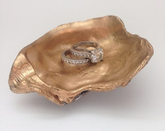 Oyster Shell Ring Dish / Gold Oyster Ring Dish / Bridesmaid Gift / Ring Dish