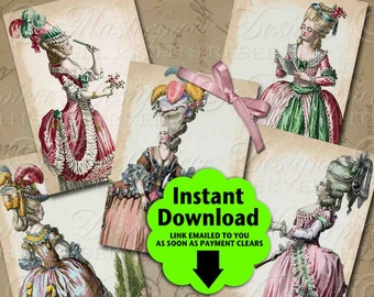 18th Century Fashion Printable Hang Tags / Marie Antoinette Tribute - Printable Hang Tags, Instant Download and Print Digital Collage Sheet