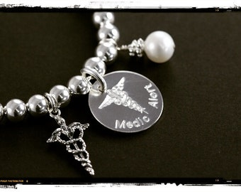 Personalized Medical Alert Bracelet, Custom Engraved 925 Sterling Silver Medical ID Jewelry