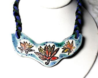 Lotus Flower Ceramic Necklace with Adjustable Length Braided Cord