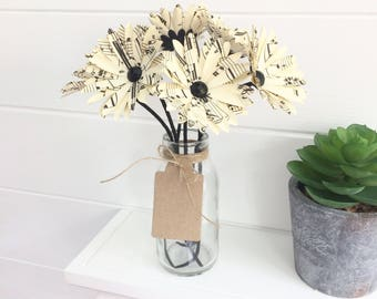 Sheet music paper flowers - 6 x daisy flowers in bottle with blank gift tag