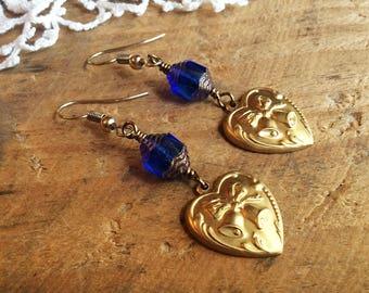 Cobalt Brass Heart Earrings - blue earrings brass earrings floral earrings