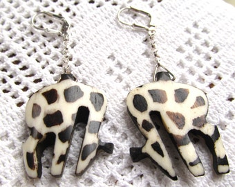 Sterling Silver Dangle Earrings with Hand Carved Batiked Bone Giraffes