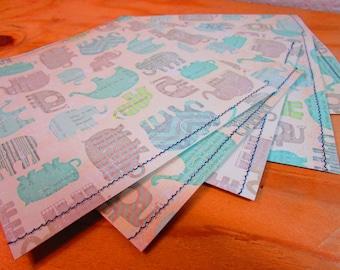 Set of 5 Elephant Print Card Stock Paper Envelopes