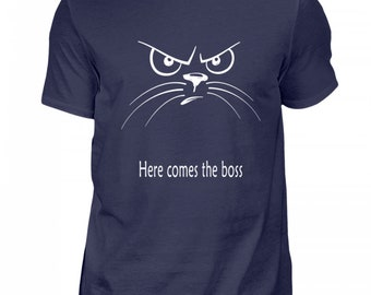 High quality men's shirt-here comes the boss-cat face