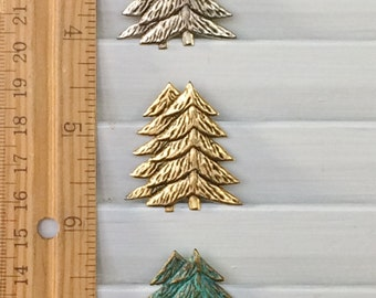 Pine Tree Pin Brooch -  BZ Designs - Evergreen Tree - Christmas Tree - 4 beautiful finishes