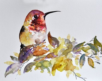 ORIGINAL Watercolor Bird Painting, Red Yellow Hummingbird 6x8