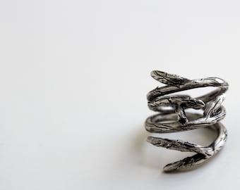 Twig Stacking Rings-Sterling Silver Twig Stackable Rings-Elvish Rings-Set of 2-Adjustable-Twig Jewelry