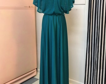 Vibrant - Lovely - Vintage Emerald Maxi Gown- Boho-Glam-Formal- Crochet/Knit Overlay-Small