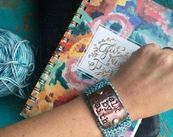Christian Hand Stamped Bracelet, Walk by Faith Religious Bracelet, Scripture Jewelry, Teacher Gift Under 30