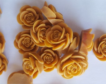 10 OPEN ROSE Cabochons - 20mm - Deep Mustard Color